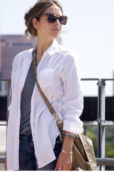 teal James Perse t-shirt - boyfriend banana republic jeans - white H&M shirt