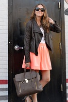 carrot orange lulus skirt - dark brown leather andrew marc jacket