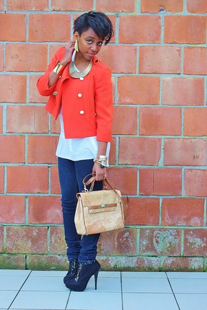 carrot orange a-line Primark blazer - off white menswear FAA t-shirt