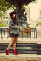 circle skirt American Apparel skirt - grey peacoat H&M jacket