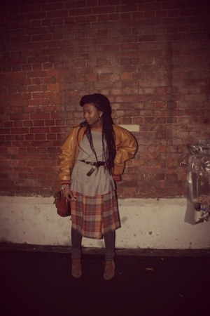 tartan skirt Vintage Shop skirt - Clarks boots - none jacket