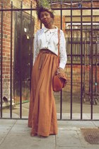 vintage skirt - brogues Primark shoes - my mums shirt - satchel vintage bag