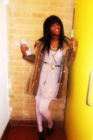 Primark dress - my mums coat coat - Topshop tights - suede DKNY wallet