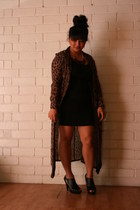 leopard print vintage dress - black bandage Forever 21 dress