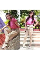 Kamiseta blouse - beige NY Square pants - white-black vnc heels