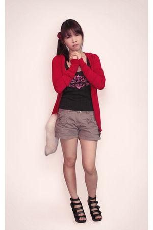 red Mango jacket - black unknown brand top - beige unknown brand shorts - beige