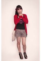 red Mango jacket - black unknown brand top - beige unknown brand shorts - beige