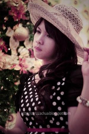 black Sparkle Shop dress - beige hat - red belt - heather gray SM Dept Stores ac