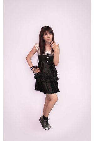 white Sparkle Shop blouse - black Sparkle Shop skirt - silver random from Hong K