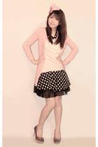 pink Sparkle Shop blazer - light pink genevieve gozum blouse - black Sparkle Sho