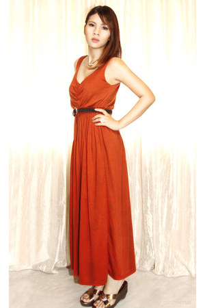 burnt orange Forever21 dress - black Zara belt - crimson Jazz your Style sandals