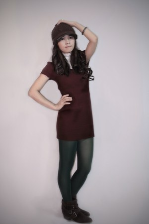 dark brown Forever 21 boots - brick red knitted Forever 21 dress - dark brown Sp