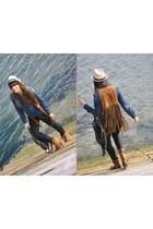 Zara boots - Zara shirt - denny rose hat - phard vest