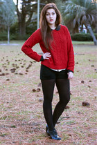 brick red cable knit Forever 21 sweater - black opaque Target tights
