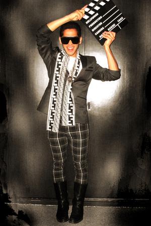 gray Zara blazer - gray Fendi scarf - black Emilio Pucci glasses - black Levis p