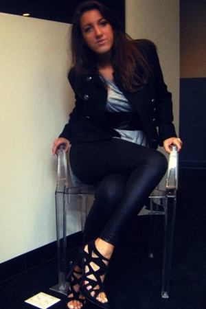 Club Monaco blazer - BOUGHT IN ITALY belt - Zara dress - American Apparel leggin