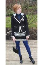 black Forever21 blazer - black Payless boots - silver Forever21 dress