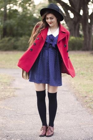 ruby red JCP coat - navy Forever 21 dress