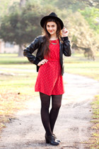 ruby red Forever 21 dress - black faux leather windsor jacket