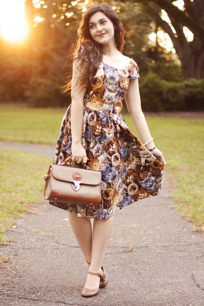 Dark Brown Cat Dress Modcloth Dresses The Purrfect Dress By Carlymaddox Chictopia