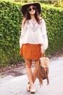 Bronze-suede-boohoo-skirt