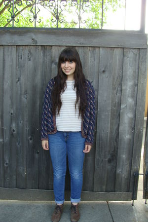 thrift shirt - Pac Sun jeans - thrift shoes - Ahab Bowen cardigan