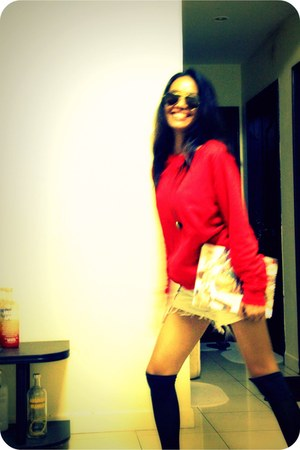 red thrifted vintage sweater - Maze Ayala Center Cebu shorts - Freeway Phillipin