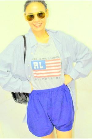 black Gucci bag - blue thrifted shorts - RL t-shirt