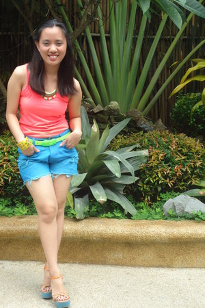 neon orange top random from Hong Kong top - 168 Divisoria shorts