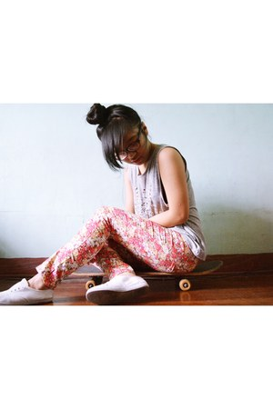 bubble gum floral pants - silver muscle tee Dotti shirt - white sneakers