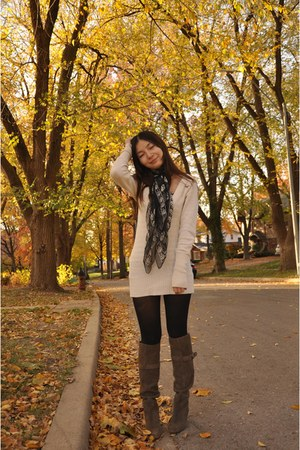 cream sweater - beige boots - black tights - black Alexander McQueen scarf
