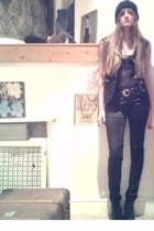 black Topshop bra - black Primark boots - black Primark jeans - black H&M hat