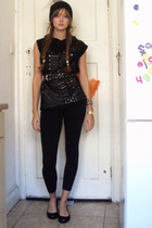 Topshop top - Topshop tights - H&M hat - abercrombie and fitch vest - vivienne w