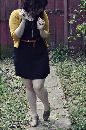 black Mossimo dress - mustard Mossimo cardigan - beige Yoki flats