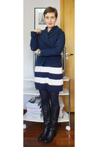 black Forum boots - white Zara dress - navy Mob coat - black lupo tights