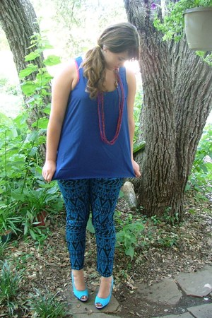 blue blue patterned Macys pants - sky blue peeptoe H&M heels