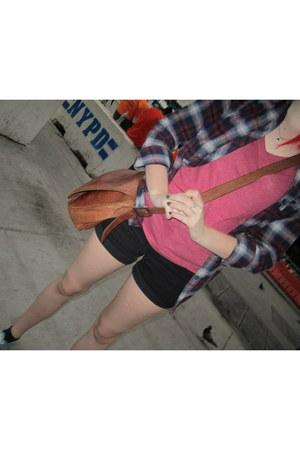 flannel Urban Outfitters shirt - leather bag Navasota bag