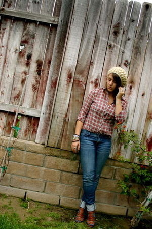 ae blouse - Jcrew jeans - my aunts hat - Nine West shoes