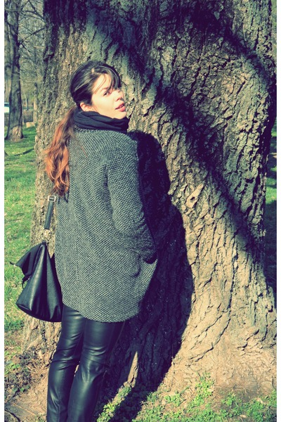 charcoal gray pull&bear coat - chartreuse c&a sweater - black Zara leggings