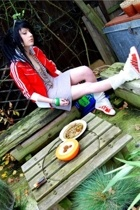 red adidas jacket - red adidas shoes - white vintage from Ebay socks