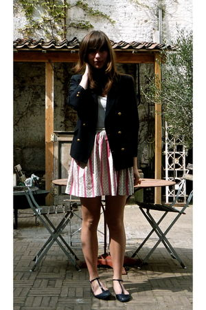 vintage blazer - pink vintage skirt - Urban Outfitters shoes - white Turnover sh