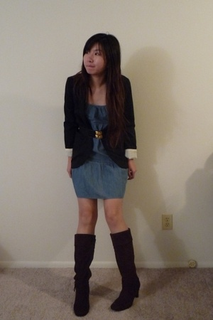 Target blazer - thrifted dress - HK boots - forever 21 belt