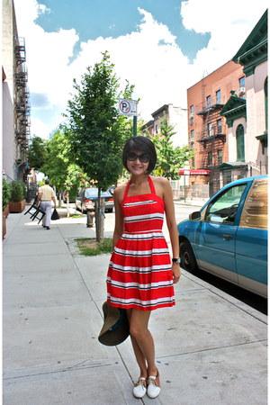 ruby red cotton asos dress - black Miu Miu sunglasses