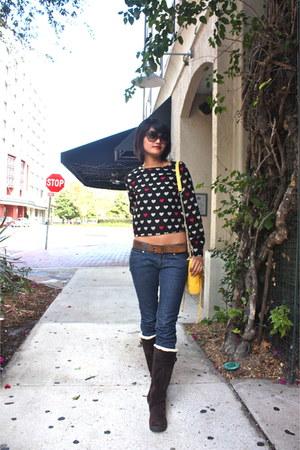 black chiffon H&M blouse - dark brown suede Cole Han boots