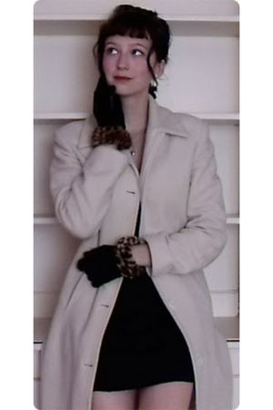 white charity shop coat - black Shock and Sole gloves - black Topshop dress