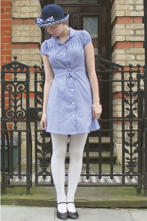 blue Jumble sale dress - blue checked 1960s Vintage fashion fair hat