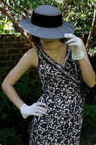 black borrowed from my mum dress - white Annies gloves - gray charity shop hat
