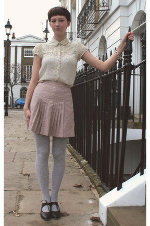 cream charity shop blouse - peach vintage skirt - black Bloch heels