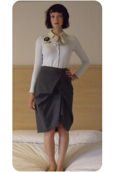 blue Gap cardigan - black market stall accessories - gray my mums skirt - black