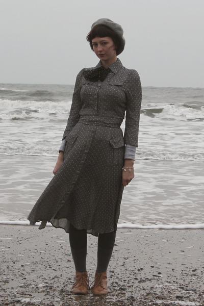 bronze brogue H&M boots - heather gray my mums dress